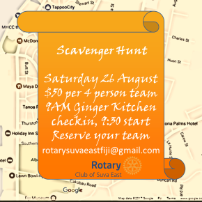 Scavenger Hunt 26 August – Saturday @9. Tickets $50/team of4